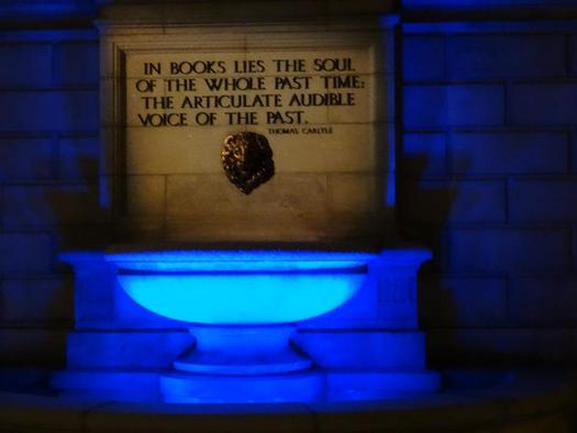 """PHOTO: Missouri homes and businesses will once again """"Light It Up Blue"""" for autism awareness on Wednesday. Seen here, the St. Louis Central Library fountain in 2013. Photo courtesy of Autism Speaks St. Louis."""
