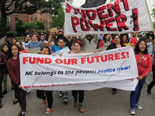 Photo: NC Student Power Union continues to host efforts state wide to demand a debt-free college system by 2020. Courtesy: NC Student Power Union