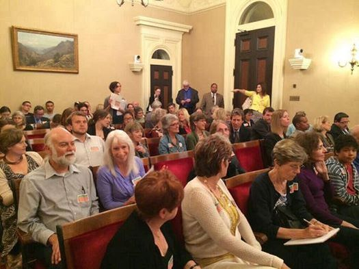 PHOTO: A State Capitol hearing room is packed Tuesday as a Senate committee discusses Senate Bill 1132, which would place a moratorium on fracking until the state fully studies the impact of the oil extraction method. Photo courtesy: Californians Against Fracking