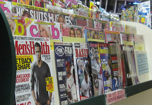PHOTO: Stores make an attempt at propriety in displaying adult magazines with covers partially hidden, but teens have easy access online. Experts say it distorts what they view as healthy relationships and body image. Photo credit: Ed Kohler