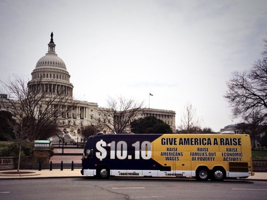 "PHOTO: The ""Give America a Raise"" Bus Tour makes a stop in Denver today. Photo courtesy Americans United for Change."