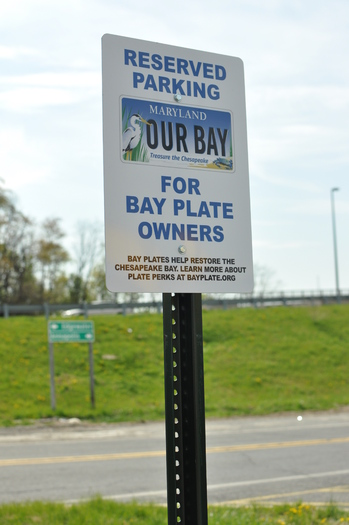 """PHOTO: The 400,000 Marylanders who purchase """"Treasure the Chesapeake"""" license plates, a fundraiser for projects that benefit Chesapeake Bay, are learning this week about new benefits and incentives, including preferred parking. Photo courtesy Chesapeake Bay Trust."""