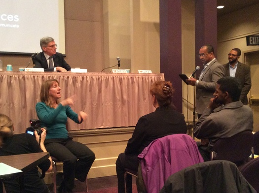 PHOTO: FCC Chairman Tom Wheeler, seen here (top left) at a meeting in January in Oakland, Calif., has signaled his support for rules that may threaten net neutrality by allowing broadband service to some companies at higher speed for higher prices. A pushback by opponents is forming quickly. Photo credit: Mark Scheerer.