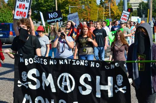 """PHOTO: The group """"March Against Monsanto"""" insists it won't be silenced by a new local ordinance that effectively removes a popular spot used for past protests. Photo courtesy Susie Chasnoff, March Against Monsanto."""