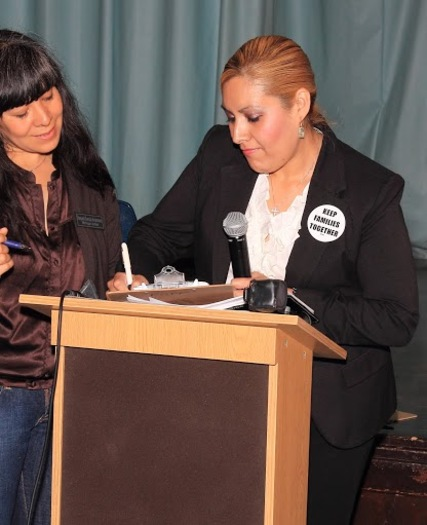 PHOTO: Cenia Friare, right, recently registered to vote for the first time and hopes other naturalized citizens living in Michigan will follow her lead. Photo courtesy Michigan United.