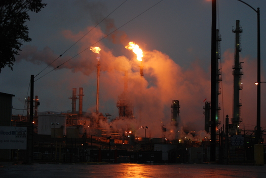 PHOTO: Oil flares like this one are a common sight at refineries. The EPA is proposing rules for refineries to monitor and minimize toxic air emissions. Photo courtesy Jesse Marquez, Coalition for a Safe Environment.