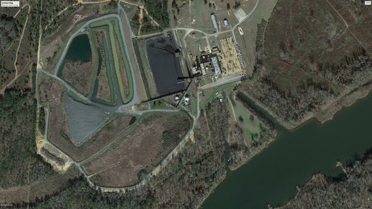 PHOTO: Conservation groups say the Scholz Generating plant near Sneads is leaking coal ash into the Apalachicola River. Photo credit: Google Earth