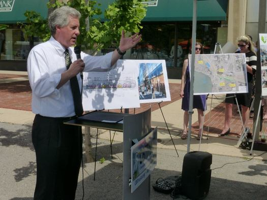 """PHOTO: EPA Regional Administrator Shawn Garvin announces $3.7 million in grants for """"green streets"""" projects. Photo credit: Chesapeake Bay Trust."""