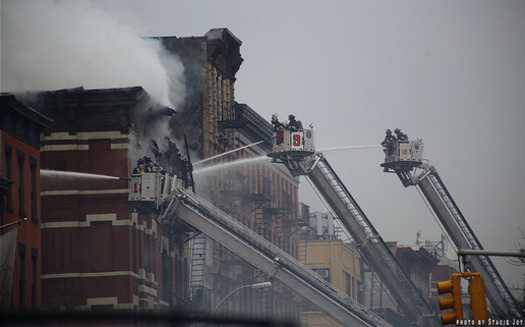 PHOTO: The recent explosion and fire that destroyed part of a city block and left two men dead in downtown Manhattan has raised new concerns about the health of New York's aging gas pipelines. But the problem could extend well beyond the city's borders. Photo credit: editrixie/CC.
