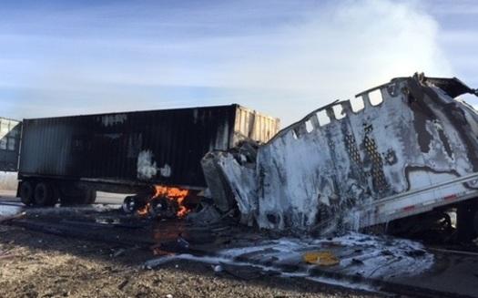 Photo of a wreck on I-10 near Quartzite. Credit: courtesy Arizona Department of Public Safety.