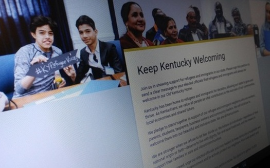 Signatures from this online petition calling on Kentucky lawmakers to welcome refugees and immigrants into the Bluegrass State will be delivered today to lawmakers at the state capitol. (Greg Stotelmyer)