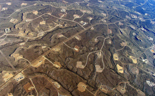 In areas where shale-drilling and hydraulic fracturing is heavy, a dense web of roads, pipelines and well pads turns continuous forests and grasslands into fragmented islands. (Simon Fraser University/flickr)