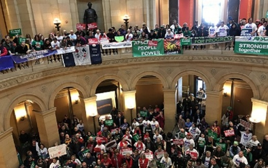 Union supporters filled the State Capitol rotunda for Saturday's Working People's Day of Action. (Laurie Stern)