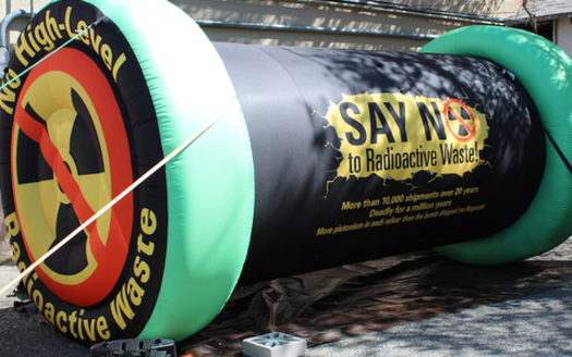 This mock radioactive waste canister is meant to represent 100,000 metric tons of spent nuclear fuel rods. Holtec International wants New Mexico to store that amount of nuclear waste until a permanent facility is built. (Don Hancock)