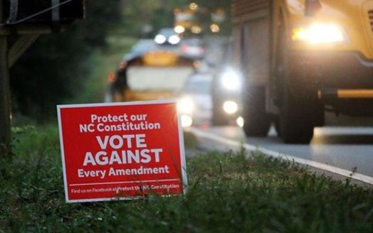 Yard signs asking people to vote against the amendments are found across the state. (Schell Simpson/Protect the NC Constitution)