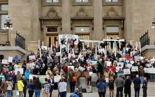 Supporters of Medicaid expansion gathered in Boise this session to oppose lawmakers' scaling back of the measure. (Reclaim Idaho)