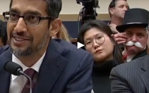 The Monopoly Man has appeared at congressional hearings including one on Google's market dominance. (Ian Madrigal/Youtube)