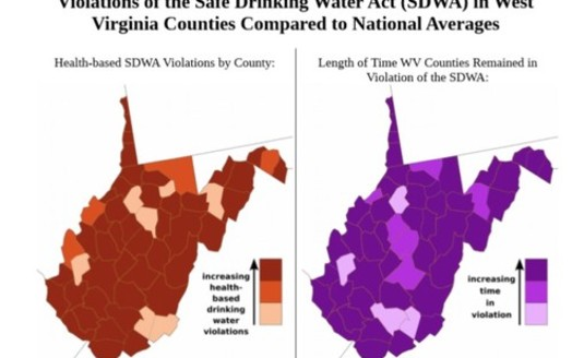 Two-thirds of West Virginia counties rank in the bottom third for their number of tap-water safety violations; even more are in the bottom third for the time it takes to fix these issues. (Natural Resources Defense Council)