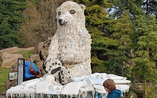 A polar bear sculpture made of trash that's washed up on Oregon beaches is on display at the Oregon Zoo in Portland. (washedashore.org)