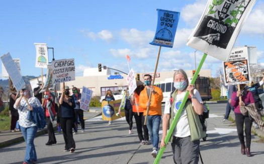 Local residents protest a proposed gas station in the Marin County city of Novato. (Karen Preuss)