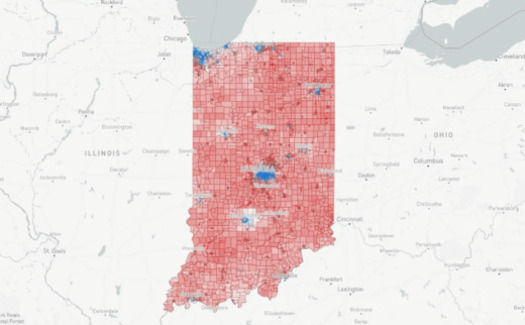 Indiana's 100 State House districts were heavily Republican in the 2016 presidential election. (MGG Redistricting Lab)