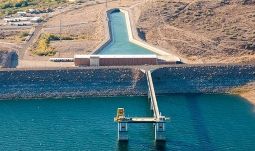 The Central Arizona Project pumps most of its water in the fall and winter months to the Lake Pleasant reservoir, northwest of Phoenix, where it is stored and distributed in the spring and summer across the state. (CAP)