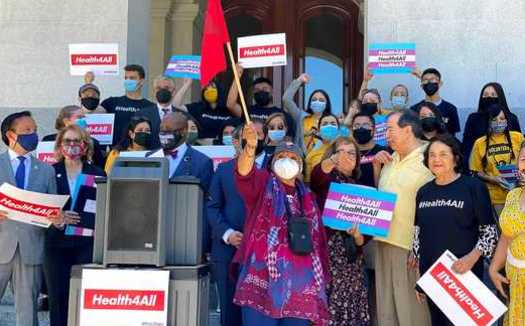 Demonstrators rallied at California's State Capitol in June to expand health coverage for income-eligible undocumented seniors. (Yvonne Vasquez/Health4All)