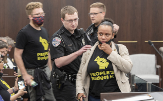 North Carolina activist Kathy Greggs was arrested at the state's General Assembly for attempting to make a public comment on the state budget. (Steven Whitsitt)
