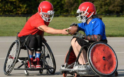 Founded just before the pandemic, the USA Wheelchair Football League is the first football league of its kind, for adults living with disabilities. (Move United)
