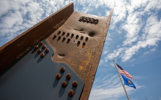 At the new Wisconsin 9/11 memorial, a support structure that holds a section of steel beam recovered from the World Trade Center. (wisconsin911memorial.com)