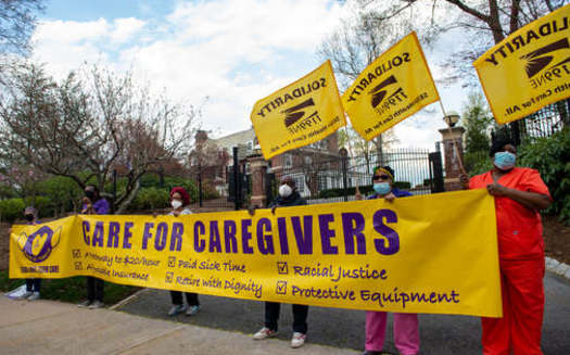 The $184 million that Connecticut has secured for long-term care workers is also supposed to solidify pension contributions for these workers. (Cloe Poisson for SEIU 1199NE)