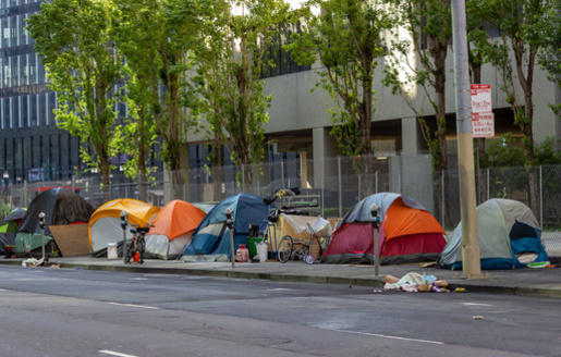 Initiated Ordinance 303 calls for city officials to enforce a camping ban within 72 hours of receiving a complaint. The city also would be open to lawsuits if it fails to clear camps. (Adobe Stock)