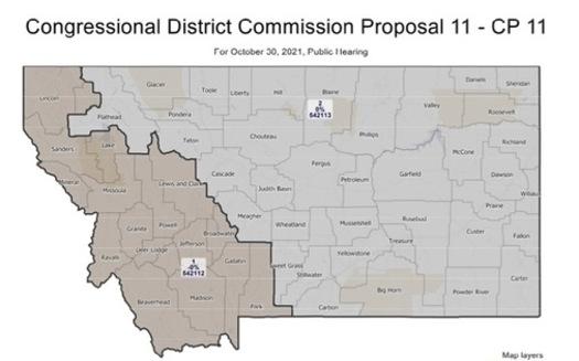 The two Democratic commissioners on the Montana Districting and Apportionment Committee drew the group's 11th proposed map. (Legislative Services Division)