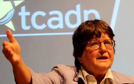 PHOTO: Death-penalty activist Sister Helen Prejean, speaking at St. Edward's University in October. Credit: Mo McMorrow.