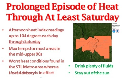 A heat advisory continues through Saturday                                 Courtesy of: National Weather Service