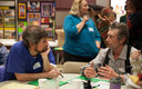 PHOTO: At an Oregon Food Bank FEAST in Cottage Grove in April, community members discuss priorities for their town's food system, from local agriculture to food waste, and how to improve them. Photo courtesy Oregon Food Bank.