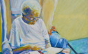 """PHOTO: Charles Williams painted this picture of his Aunt Cookie. Williams, who is her caregiver, calls his painting """"Daily Bread"""" because he says his aunt reads her Bible daily. Photo courtesy Charles Williams."""