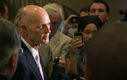 PHOTO: Gov. Rick Scott answers reporters' questions, and there are a lot of them, amid allegations of improper oversight of the Florida Department of Law Enforcement. Photo credit: Sara K. Brockmann, State of Florida/Wikimedia Commons.\