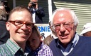 PHOTO: Presidential candidate Bernie Sanders, right, with Will and Zeke Stewart at a recent Brunch with Bernie event in Manchester. Sanders is refusing super PAC money in his bid for the White House. Photo credit: W. Stewart