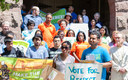 PHOTO: Members of a dozen immigrant-rights groups launched a voter-registration drive that will rely on young people to convince Long Islanders in working-class and minority communities to register to vote. Photo credit: Steve McFarland