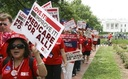 PHOTO: Nurses rallied in cities across the US Thursday to preserve and improve Medicare and extend coverage to everyone. Photo courtesy of National Nurses United.