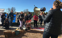 Protesters gathered in Santa Fe on Wednesday to call for the Bureau of Land Management to halt the sale of oil and gas leases on public lands. (WildEarth Guardians)