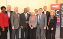 Photo: AARP North Carolina Executive Council, staff and �Legislators of the Year� honorees (l-r) Henrietta Coursey, Michael Dowling, Dennis Hoadley, James Wall, Robert Palombo, Sen Ellie Kinnaird, Cheryll Schramm, Rep. Nelson Dollar, Doug Dickerson, Mary Bethel. Courtesy: AARP NC