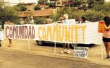 PHOTO: The thought of housing undocumented children brought people, both supporters and opponents, to the streets of Oracle, Arizona this week. Photo courtesy of Frank Pierson.