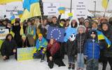 PHOTO: Michigan's Ukrainian community has held several rallies like this one to raise awareness and show support for their homeland, while also working to gather donations and send medical supplies and other needed items overseas. Photo courtesy of M. Howlyrak.