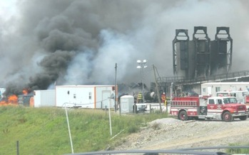PHOTO: This fire at a fracking well site in Monroe County is intensifying efforts by some to update Ohio's chemical disclosure laws. Photo courtesy of the Monroe County Emergency Management Agency.