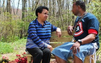 PHOTO: A young veteran consults with Suffolk County United Veterans Social Worker Roberta Sharpe. Photo courtesy Suffolk County United Veterans.