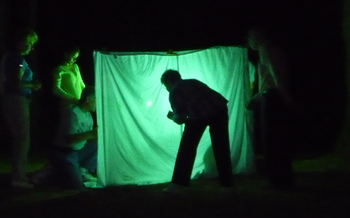 PHOTO: A 'moth sheet' can be set up by anyone as a way to observe moth species. It's National Moth Week, and researchers are looking for white-lined sphinx moths in Montana. Photo courtesy of NationalMothWeek.org.