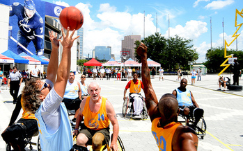 PHOTO: Basketball is part of the National Veterans Wheelchair Games, the largest such event in the world. This year's games are under way in Philadelphia. Photo credit: U.S. Dept. of Veterans Affairs