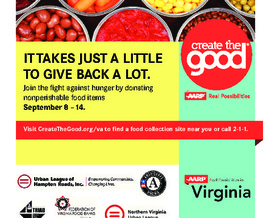 FLYER: Virginia food banks say a food drive this week comes at a crucial time for them. Flyer courtesy of AARP Virginia.